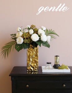 Vicky Yao Faux Floral - Exclusive Design Real Touch  Lily Floral Arrangement With Golden Vase