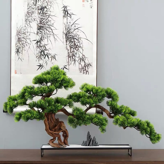 Vicky Yao Faux Plant - Exclusive Design Stone Modeling Artificial Bonsai L60cm Gift For Him