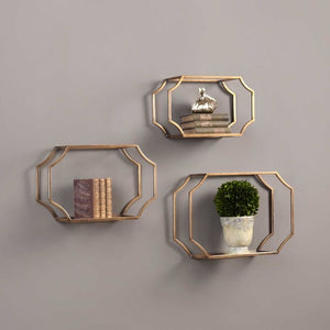 Vicky Yao Wall Decor - Golden Wall Shelves S/3