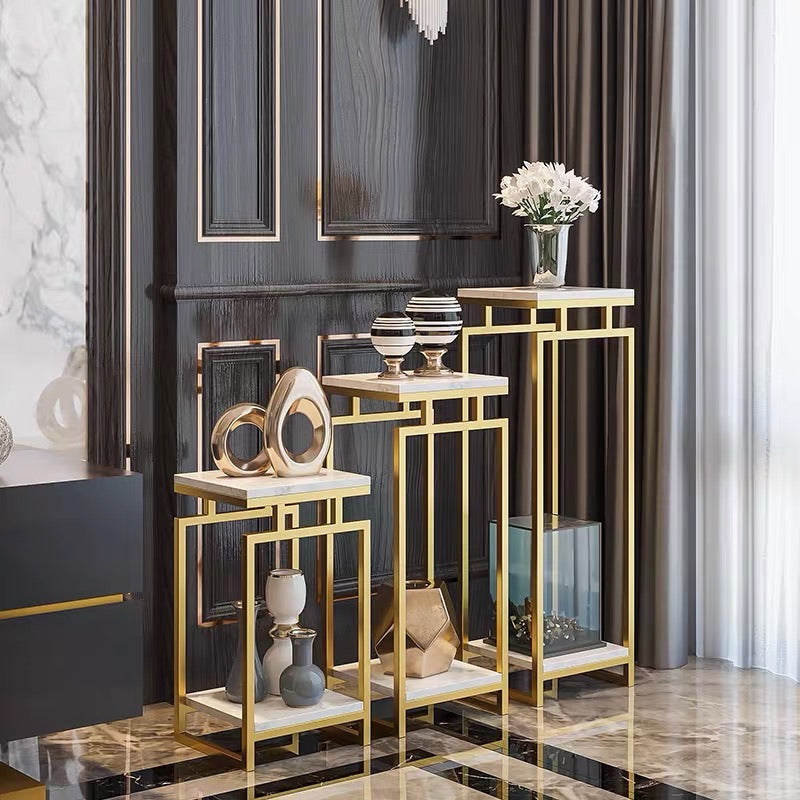 Vicky Yao Luxury Furniture - Exclusive Design Luxurious Marble Stainless Steel Three-Piece Flower Pot Stand /Display Stand