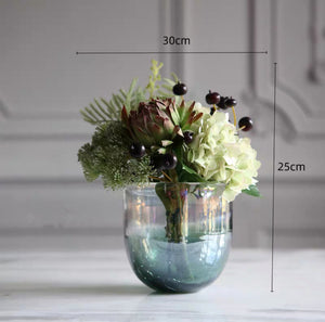 Vicky Yao Faux Floral - Exclusive Design Luxury Artificial Hydrangea Arrangement With Star a Green Vase