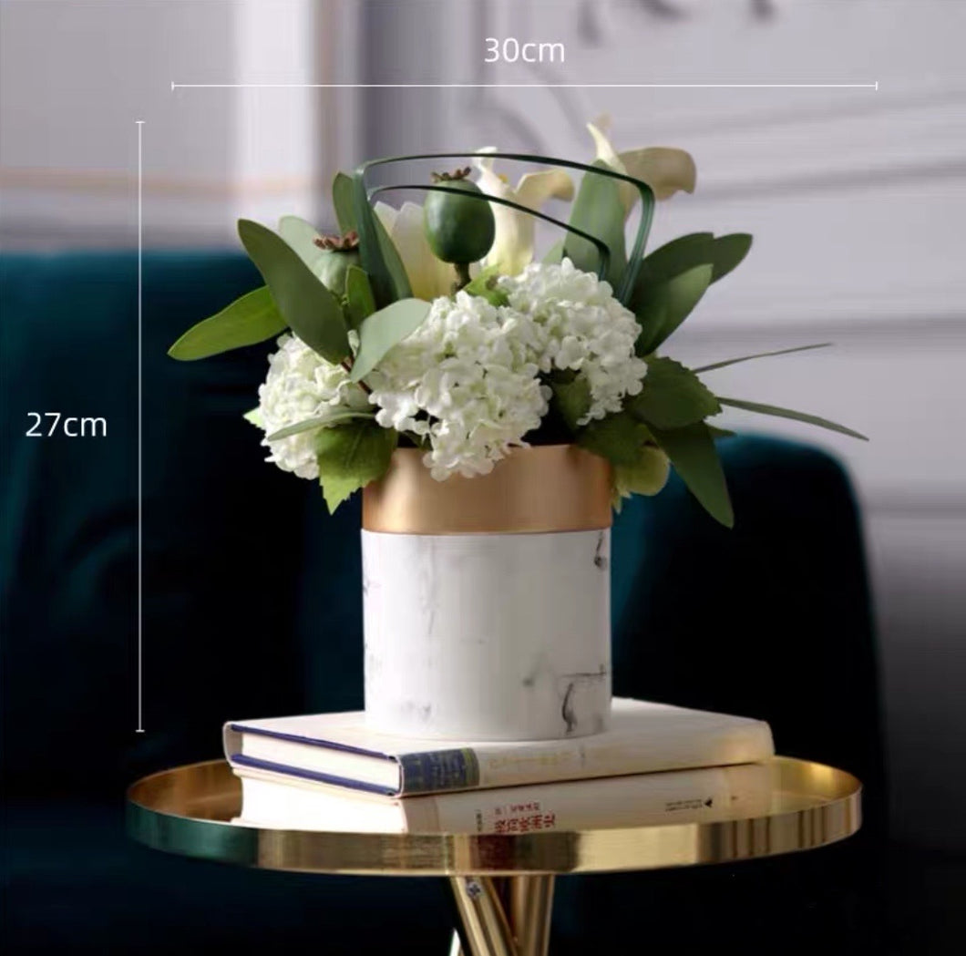 Vicky Yao Faux Floral - Exclusive Design White Marbling Artificial Floral Arrangement