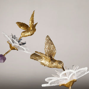 Vicky Yao Table Decor - Exclusive Design Handmade Luxury Natural Crystal Brass Bird Art