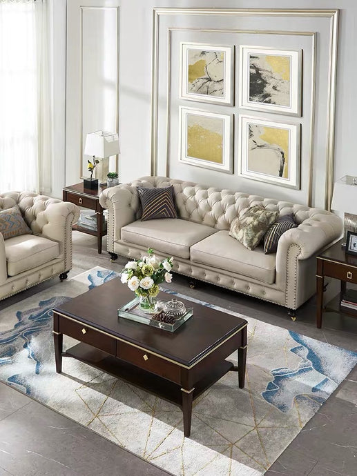 Vicky Yao Luxury Furniture - Handmade Luxury French Style Armchair 2/3 Seater Linen Fabric Chesterfield Sofa