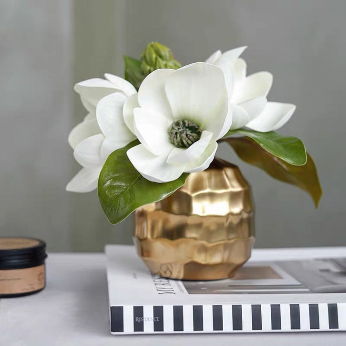 Vicky Yao Faux Floral - Golden Vase Magnolia Flower Arrangement - Vicky Yao Home Decor SEO