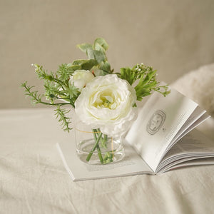 Vicky Yao Faux Floral - Exclusive Design Mini White Silk Rose Flower Arrangement