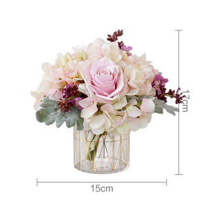 Vicky Yao Faux Floral - Exclusive Design Pink Hydrangea Rose Flower Arrangement