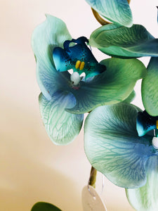 Vicky Yao Faux Floral - Exclusive Design Real Touch Luxury Artificial Dream Blue Phalaenopsis Orchid Flower Arrangement 56cmH