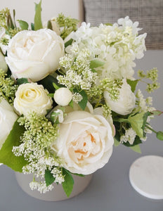 Vicky Yao Faux Floral - Exclusive Design Artificial Fresh Green White Rose Arrangement