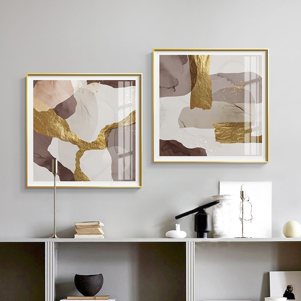 Vicky Yao Wall Decor - Luxury Marble With Gold 2 Sets Canvas Prints