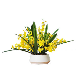 Vicky Yao Faux Floral - Exclusive Design Stunning Yellow Artificial Oncidium Floral Arrangement
