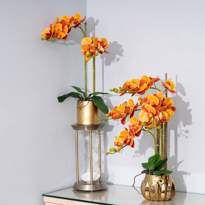 Vicky Yao Faux Floral - Exclusive Design Hermes Orange Artificial Phalaenopsis Orchid Arrangement