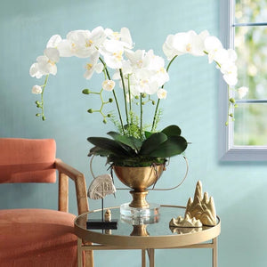 Vicky Yao Faux Floral - Exclusive Design Real Touch Artificial Orchid Arrangement In High Golden Pot