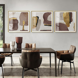Vicky Yao Wall Decor - Luxury Abstracts Marble With Gold 3 Sets Canvas Prints