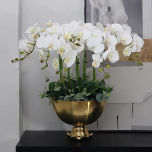 Vicky Yao Faux Floral - Exclusive Design Luxury Artificial Orchid Flower Arrangement With Triangle Ball Vase