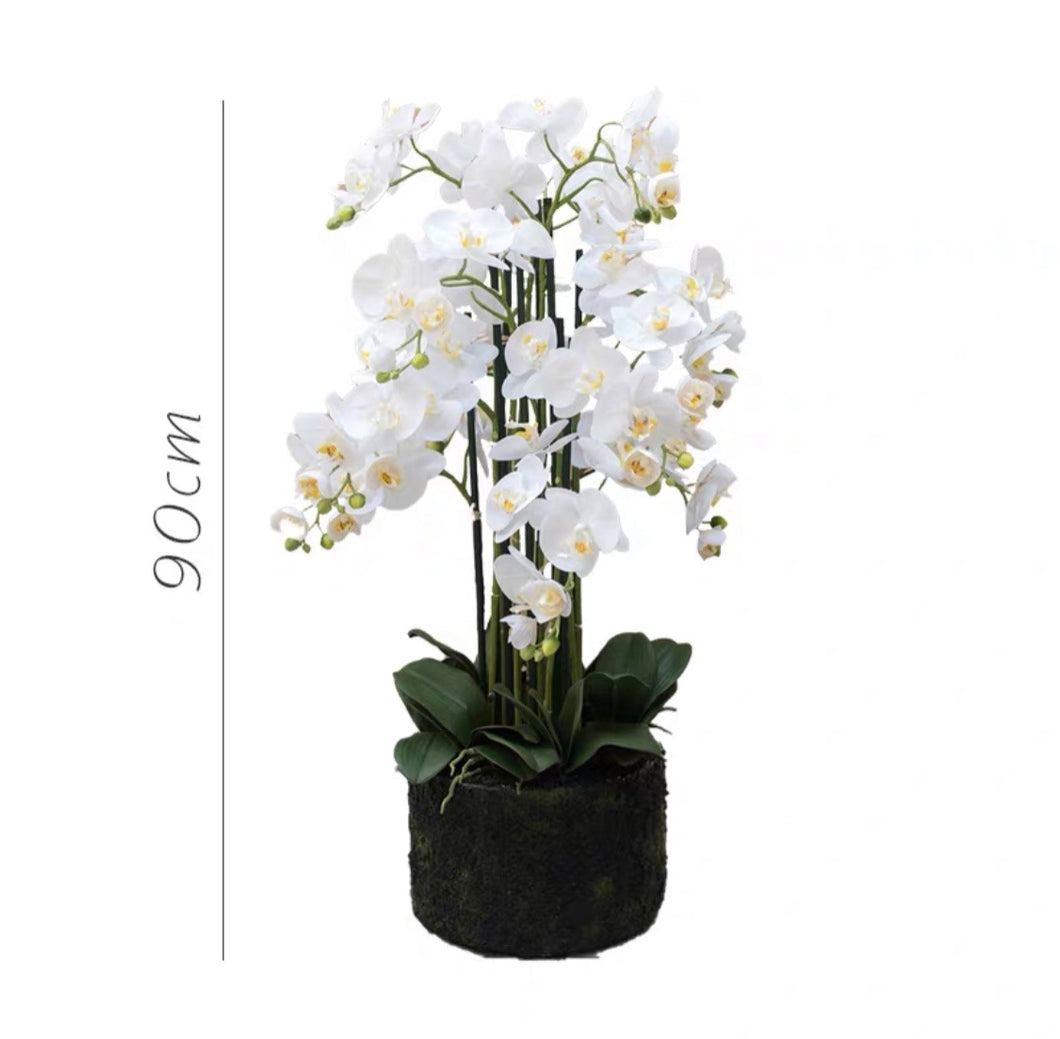 Vicky Yao Faux Floral - Handmade Super High Real Touch Artificial Orchids Arrangement With Hard Mud Mortar Pot