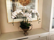 Load image into Gallery viewer, Vicky Yao Faux Floral - Exclusive Design Real Touch Artificial Orchid Arrangement In High Golden Pot