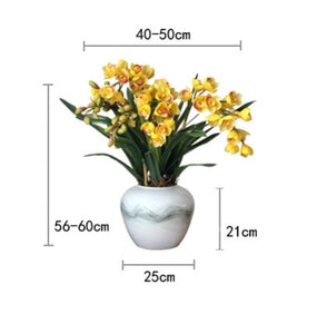 Vicky Yao Faux Floral - Exclusive Design Real Touch Artificial Yellow Cymbidium Floral Arrangement