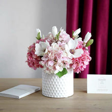 Load image into Gallery viewer, Vicky Yao Faux Floral - Exclusive Design Artificial Hydrangea Magnolia Pink Floral Arrangement