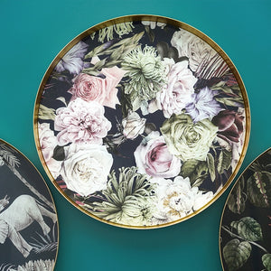 Vicky Yao Table Decor - Exclusive Design Floral Gold Mirror Tray 35cm