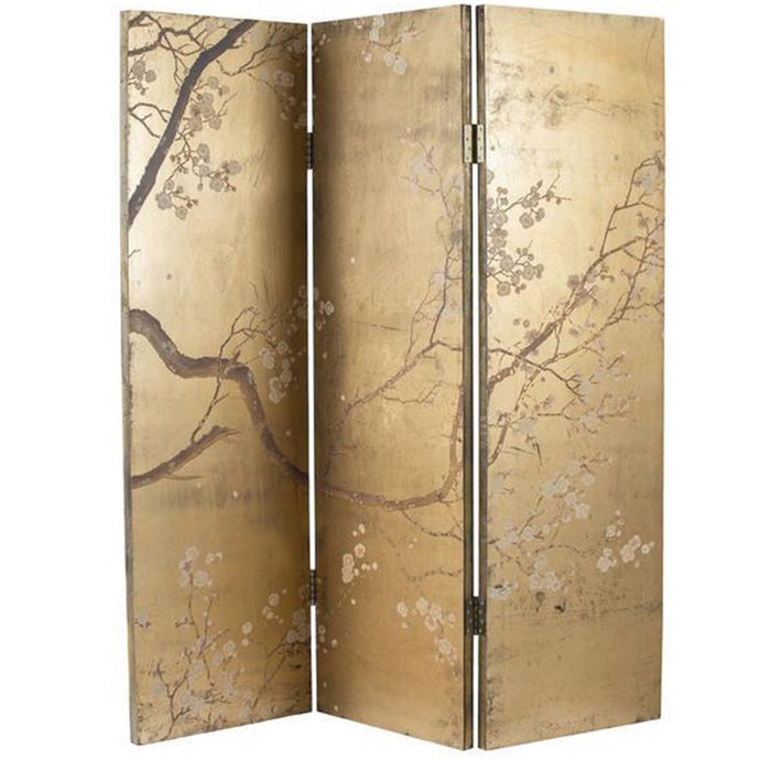 Vicky Yao Home Decor - Elegant Chinese Style Golden Cherry Blossom Dressing Screen