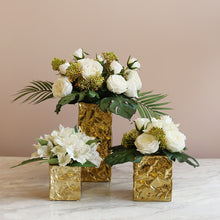 Load image into Gallery viewer, Vicky Yao Faux Floral - Exclusive Design Real Touch  Lily Floral Arrangement With Golden Vase
