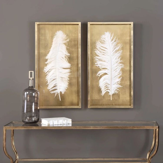 Vicky Yao Wall Decor - Handmade Golden White Feathers Shadow Box S/2