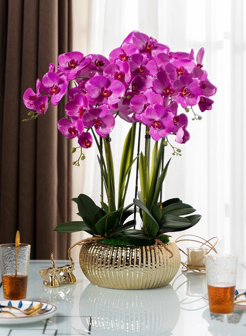 Vicky Yao Faux Floral  - Exclusive Design Fuschia Artificial Orchid Pot Flower Arrangement