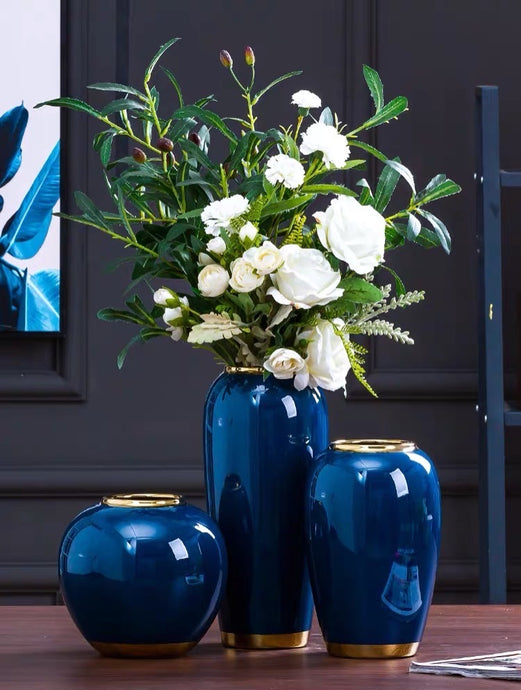 Vicky Yao Table Decor - Exclusive Design Handmade Sapphire Blue Luxury Ceramic Vase