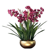 將圖片載入圖庫檢視器 Vicky Yao Faux Floral - Exclusive Design Real Touch Artificial Cymbidium Orchid Flower Arrangement