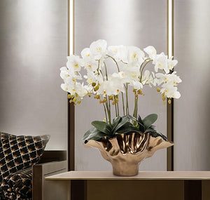 Vicky Yao Faux Floral - Exclusive Design Shell Vase Artificial Orchids Floral Arrangement