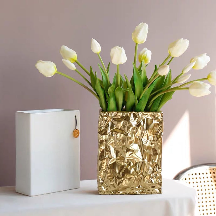 Vicky Yao Home Decor - Exclusive Design Vase With  Pleated Texture