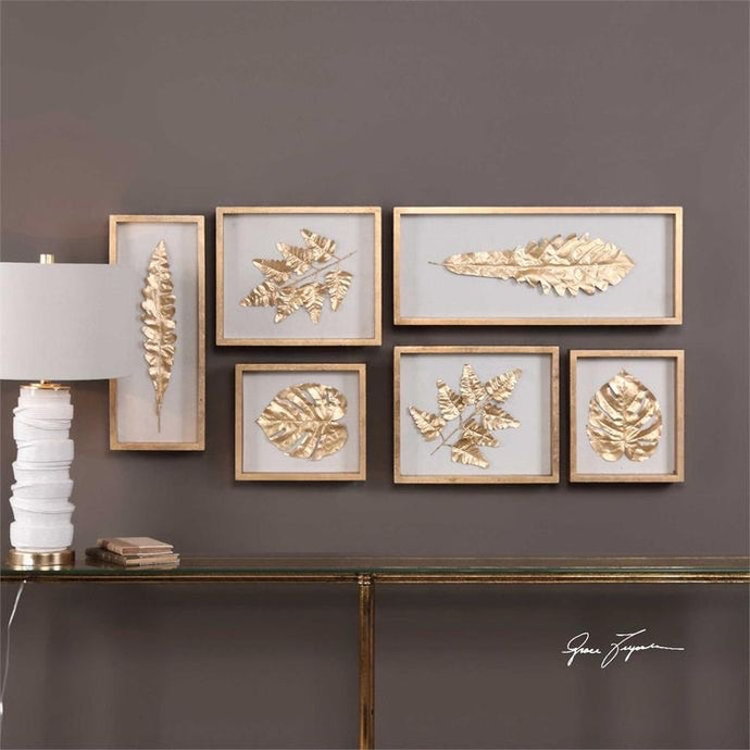 Vicky Yao Wall Decor - Golden Leaves Shadow Box S/6