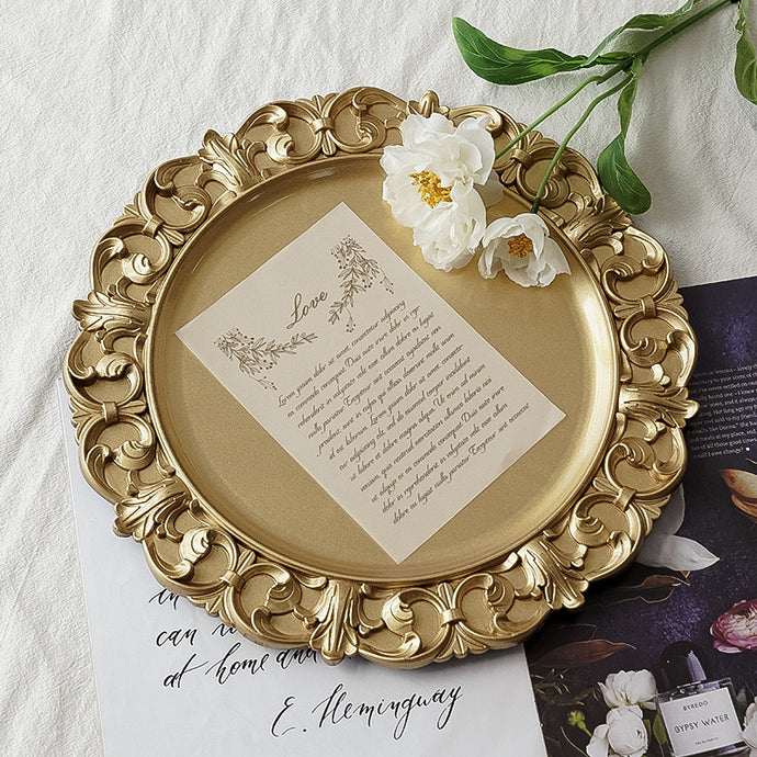 Vicky Yao Table Decor - Exclusive Design Golden Round Tray/ Platter