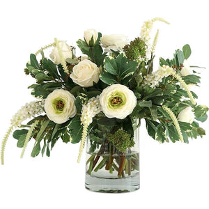 Vicky Yao Faux Floral - Exclusive Design Luxury Artificial White Sage Rose Flower Arrangement