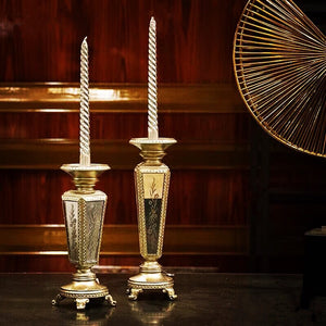 Vicky Yao Table Decor - Luxurious Pair Of Resin Mirror Candlesticks - Vicky Yao Home Decor SEO