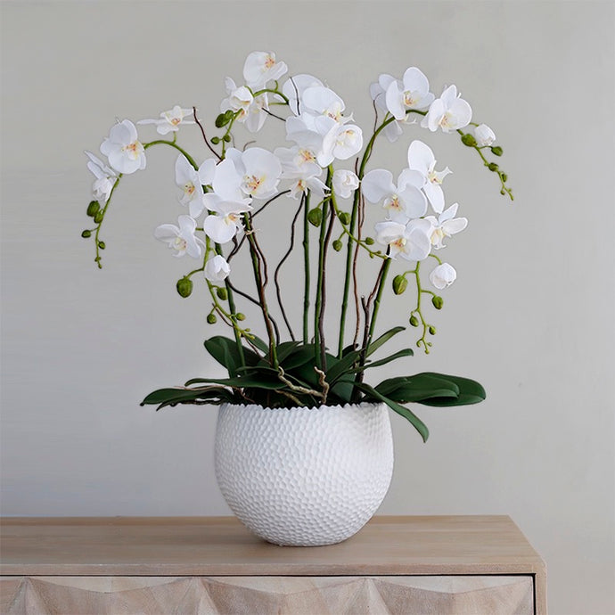 Vicky Yao Faux Floral - Luxury Real Touch 6 Stems Orchid Flower Arrangement
