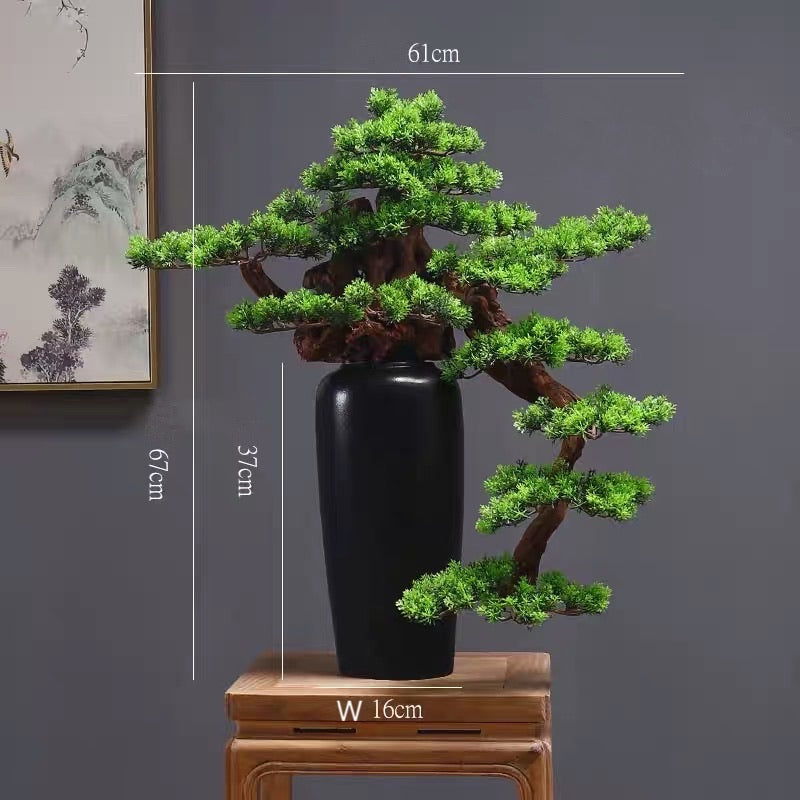 Vicky Yao Faux Plant - Exclusive Design Red Artificial Bonsai Maple Leaf Gift For Him