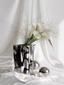 Vicky Yao Table Decor - Handmade Ceramic Gilded Silver Irregular Vase