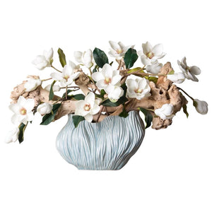 Vicky Yao Faux Floral - Art Artificial Magnolia Wood In Blue Vase
