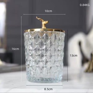 Vicky Yao Table Decor - Exclusive Design Luxury Deer Head Class Jar/Cotton Jar Glasses