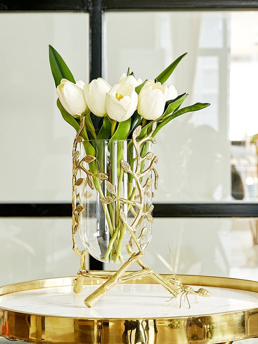 Vicky Yao Table Decor - Luxury Exclusive Design Leafy Vase / Tulips Arrangement