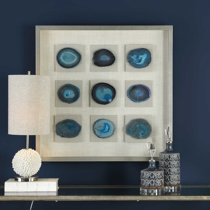Vicky Yao Wall Decor - Luxury Blue Agate Stones Cerulean Shadow Box