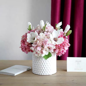 Vicky Yao Faux Floral - Exclusive Design Artificial Hydrangea Magnolia Pink Floral Arrangement