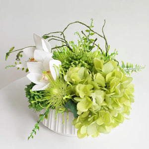 Vicky Yao Faux Floral - Exclusive Design Fresh Green Real Touch Artificial Flowers Arrangement