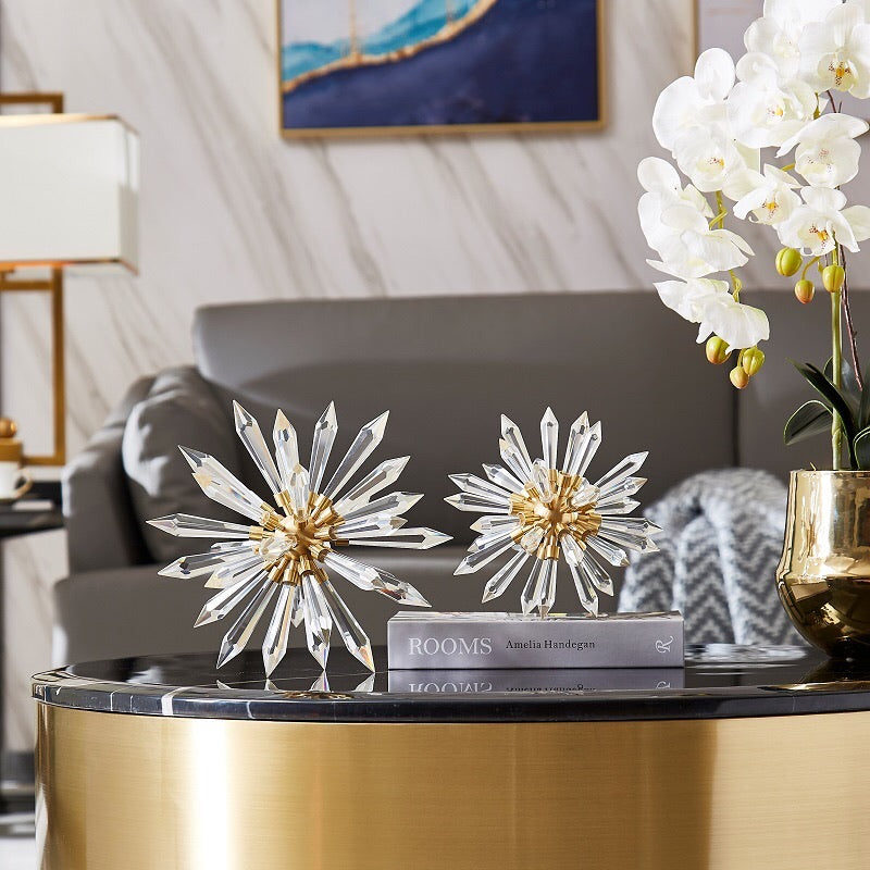 Vicky Yao Table Decor - Exclusive Design Brass Set of Crystal Glass Flowers