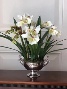 Vicky Yao Faux Floral - Exclusive Design Artificial Cymbidium Orchids In Deer Pot Flowers Arrangement