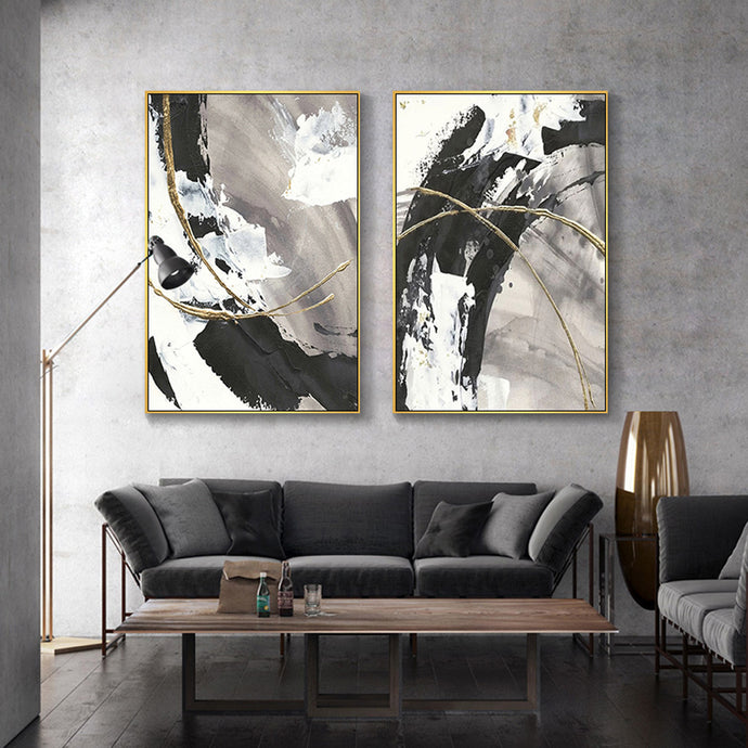 Vicky Yao Wall Decor - Luxury Modern Abstract Black Grey Canvas Prints