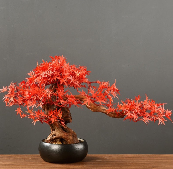 Vicky Yao Faux Plant - Exclusive Design Artificial Red Maple Leaf Bonsai Arrangemen