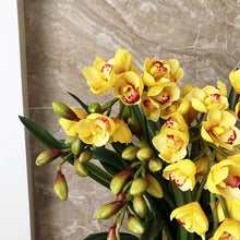画像をギャラリービューアに読み込む, Vicky Yao Faux Floral - Exclusive Design Real Touch Artificial Yellow Cymbidium Floral Arrangement